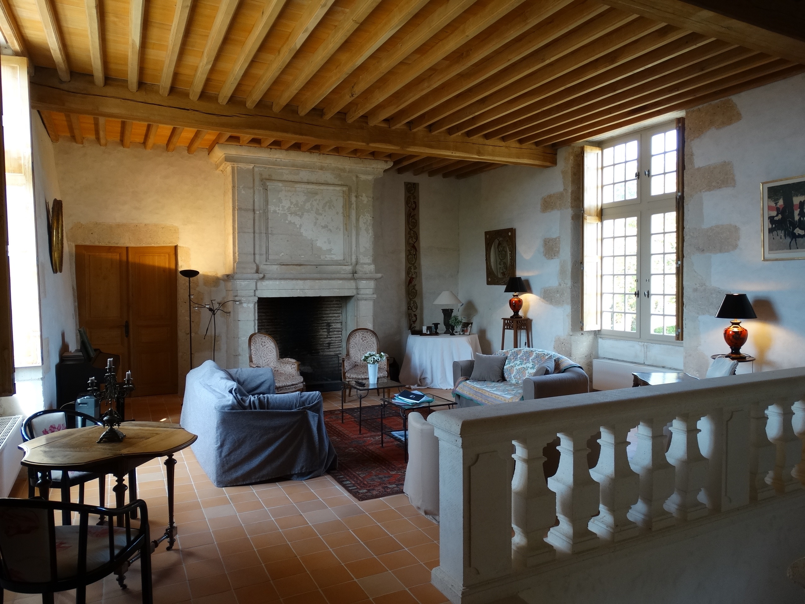 Elms sitting-room in Puymangou's chateau, France